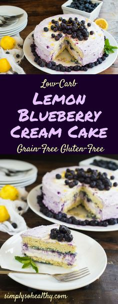 This refreshing Low-Carb Lemon Blueberry Cream Cake is the perfect dessert to cool off on a hot summer day. It's grain-free, gluten-free, low-carb and keto friendly