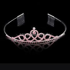 Wedding Pink Rhinestone Flower Girl Crown Headband Tiara with Comb Accessory