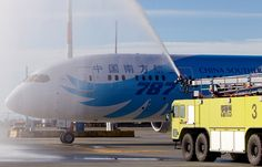 YVR's Airfield and Emergency Services team officially welcomes China Southern Airlines' Boeing 787 Dreamliner to Vancouver International Airport on 19 February with a water arch. Photo Credit: Ben Nelmes.