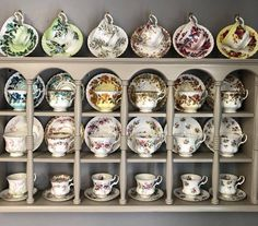 Finally got all the Demi's I needed to match up the bottom two rows! Tea Cup Display, Cup And Saucer Crafts, Tea Wallpaper, Tea Pot Set, Tea Sets, Silver Tea Set, Tea Party Theme, China Tea Cups, Tea Cup Saucer