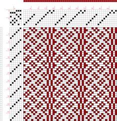draft image: Contrair geriehene Muster, Mit 8 Schäften 47 , Lehr-Methode der Weberei, Ferdinand A. Langewald, 8S, 6T