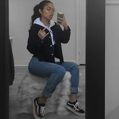 Here is Vans Outfit Picture for you. Vans Outfit outfit with casual outfits with vans flats chicisimo. Tumblr Outfits, Insta Outfits, Mode Outfits, Trendy Outfits, Fall Outfits, Fashion Outfits, Winter Outfits Tumblr, Baddie Outfits Casual, Cute College Outfits