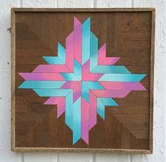 """Arte de pared de madera, madera de la pared decoración, decoración de la pared de madera reciclada, azul, rosa, """"Ombre copo de nieve"""", 16,75""""× 16,75"""" reclamado madera arte de pared"""