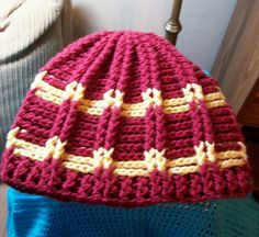 Knit-Look Ribbed Crochet Cap in Wizard Stripes