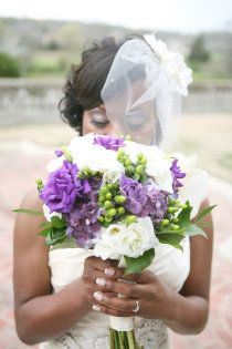 Wedding Bouquet: Purple, white and green