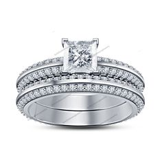 White Gold Fn Bridal Ring Set Knife Edge Princess Diamond 4 V Prong 2.1C.T.W. #br925