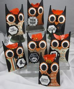 Owl candy pocket treat holders using Witches Brew Designer Paper and punches! More close-ups on my blog!