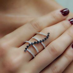 """Kurvy"" Zig Zag Black & White Diamond Multi Band Ring - Plukka - Shop Fine Jewelry Online"