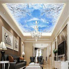 Custom 3D wallpaper for walls 3d murals backgrounds Non Woven silk wallpaper for living room Smallpox ceiling sky blue pigeons