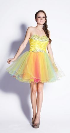 Short Homecoming dress in color Yellow, Blue, Green & more - Strapless style in Sequin - Plus Size available. - $99.99 - Dress URL: http://www.jessicasfashion.com/Short-strapless-Mesh-hand-beaded-prom-dress-LXO2605.html #dress #dressshopping  #fashion  #sequindress #shortdress #shortdresses #straplessdress #straplessdresses #plussizedress