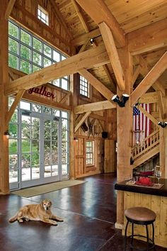 The timber frame barn is constructed from western Douglas fir timbers, which were cut green and rough sawn. by AislingH Timber Frame Homes, Timber House, Timber Frames, Barn Renovation, Rustic Fall Decor, Rustic Home Design, Timber Flooring, Concrete Floors, Country Interior