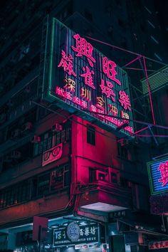 Japanese street sign, neonboard cyberpunk city street, urban slum district, blade runner inspired environment landscape concept art artwork inspiration ideas, dark, black, purple blue neon glow night city street scene environment render, illustration, scifi fantasy environment futuristic tech architecture buildings digital art, matte painting