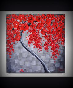 ORIGINAL Modern Art Textured Landscape Abstract Red Cherry Blossom Tree Painting 20x20 Palette Knife Artwork Ready to Hang Float Canvas by ZarasShop