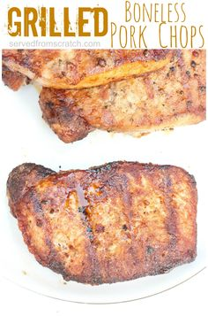 Grilled boneless pork chops marinated in a homemade steak seasoning marinade and grilled to juicy perfection! Grilled Pork Chops Boneless, Bbq Pork Ribs, Grilled Meat, Pork Rib Recipes, Steak Recipes, Summer Grilling Recipes, Grilling Tips, Chops Recipe, Cooking Recipes