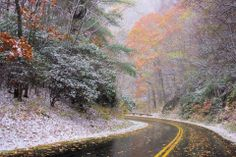 """""""Autumn meets Winter""""...first snow flurries of the season in North Carolina at Hawks View House"""