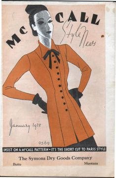 McCall Style News, January 1938 featuring McCall 9569