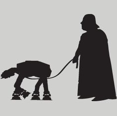 """Darth Vader walking his At-At"" Funny Star Wars T-shirt from DonkeyTees.com"