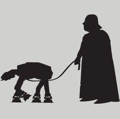 """""""Darth Vader walking his At-At"""" Funny Star Wars T-shirt from DonkeyTees.com"""