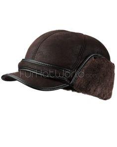 f729c338c77 Brown Shearling Sheepskin Fudd Hat  FurHatWorld.com