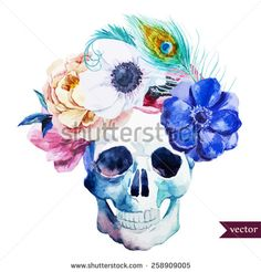 Flower skulls Free vector for free download about (35) Free vector in ai, eps, cdr, svg format .