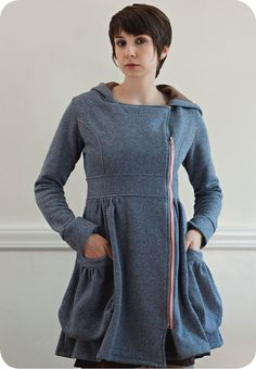 Maryjane Coat, $215 from Specks and Keepings. I'd want this in orange with a grey zipper and they'd need to cobble together a relative circus-tent-sized one for me since their offered sizes are teeny-tiny. But it's still adorable.