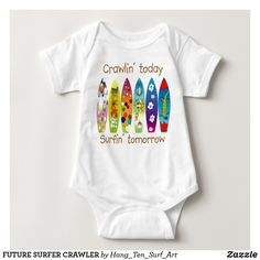 Retro Vintage Style Surf Surfing Baby Infants Durable One Pack Long Sleeve Bodysuits Onesies