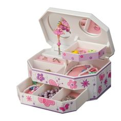 Fashioned after traditional music boxes, the Mele & Co. Kelsey Glitter-Fly Musical Dancing Ballerina Jewelry Box - x in. Mele Jewelry Box, Kids Jewelry Box, Little Girl Jewelry, Musical Jewelry Box, Girls Jewelry, Jewelry Boxes Wholesale, Ballerina Jewelry Box, Ballerina Room, Faberge Jewelry