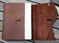 Leather journal with leather strap and key closure - loop built into journal