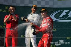 Podium: winner Sebastian Vettel, Ferrari, second place Lewis Hamilton, Mercedes AMG third place Valtteri Bottas, Mercedes AMG - Ausztrál Nagydíj Valtteri Bottas, Lewis Hamilton, Mercedes Amg, Formula 1, F1, Ferrari, Third, Places, Lugares