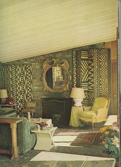 Horst's living room with an Italian mirror - a gift from Chanel.