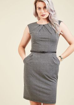 Teaching Classy Sheath Dress in Chevron. Share your knowledge with admiring students while delivering a bonus lesson in chic style - as exemplified by this black sheath dress. #grey #modcloth