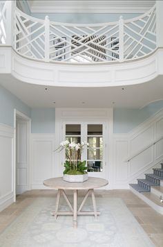 Chippendale Stair Railing | Home with Classic Blue and White Interiors
