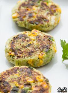 Vegan Zucchini & Corn Patties, great inside a burger or sandwich.