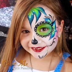 Bright sugar skull face paint