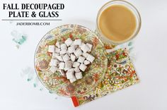 DIY Fall Decoupaged Plate and glass dining set made with Mod Podge.