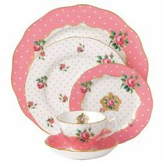 Royal Albert New Country Roses Cheeky Pink Vintage 5 Piece Place Setting - High Tea on Joss & Main Royal Albert, Rose Vintage, Vintage China, Antique China, Vintage Teacups, Antique Dishes, Dinnerware Sets, China Dinnerware, Pink Rims