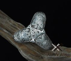 Viking trefoil solid sterling silver brooch from Birka - reproduction of a grave find - museum replica