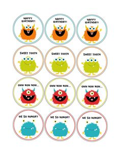 Little Monster Party Printables, Cupcake toppers.