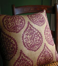 Tree and Fern fig on ginger linen pillow case-- would be cool made out of a burlap coffee sack w/ design.