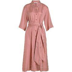 Diane von Furstenberg 3/4 Sleeve Belted Shirt Dress ($510) ❤ liked on Polyvore featuring dresses, stripes, 3/4 sleeve dress, oversized t-shirt dresses, 3 4 sleeve midi dress, red midi dress and red dress