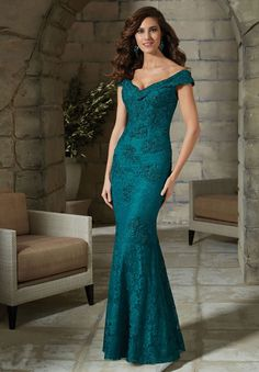 Full length lace dress with deep v neck 28798