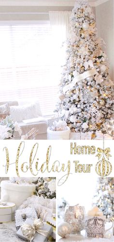 Home For the holidays blog tour 2016  White flocked king of Christmas Christmas tree blogger home tour bright white winter wonderland neutral Christmas colors fur tree skirt white silver gold champagne fur throw blankets rustic glam