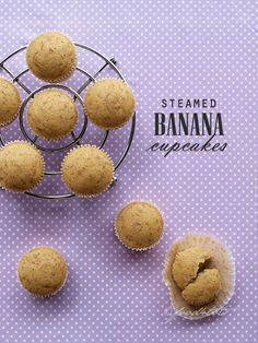 steamed banana cakes, steamed banana cupcakes, steamed banana muffins, steamed cakes, mushipan, steamed sponge cakes, snack, toddler, children, kid, steaming, food 4 tots