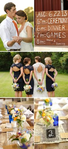 Southern Navy Blue And Orange Summer Barn Wedding In South Carolina - http://www.chicdecorations.com/wedding-tips/southern-navy-blue-and-orange-summer-barn-wedding-in-south-carolina.html