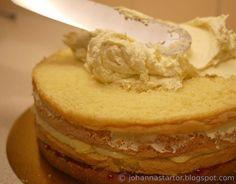 Här kommer ett grundrecept på smörkräm som man kan använda till att spackla tårtan med.