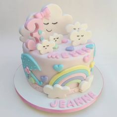 Cake Cookies, Cupcake Cakes, Bolo Fack, Baby Girl Birthday Cake, Rainbow Layer Cakes, Cloud Cake, Ballerina Cakes, Novelty Cakes, Occasion Cakes