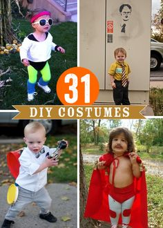 "31 clever DIY Kid Costume ideas for Halloween. - hahahaha so funny the one from ""the office"", ""one man band"" and ""nacho libre"""