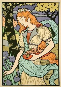 Grafton Gallery, from Les Affiche Illustrees  Eugène Grasset  Date: 1897  Style: Art Nouveau (Modern)  Genre: genre painting
