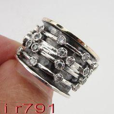 Hecho a mano fabuloso 9K oro anillo de plata giratorio tamaño 8 (r652)