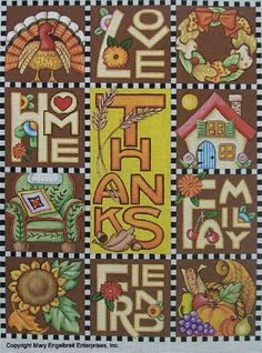 Hand-painted Needlepoint Canvas ~ Thanksgiving LHFF – Mary Engelbreit Studios